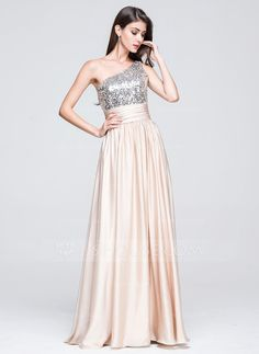 [£145.00] A-Line/Princess One-Shoulder Floor-Length Charmeuse Sequined Prom Dress With Ruffle