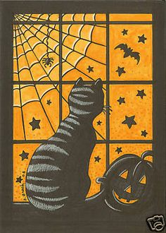 Made by a student of grade 4 You need: white drawing sheet liquid water colour paint brush black construction paper cutting kni. Theme Halloween, Halloween Boo, Spirit Halloween, Holidays Halloween, Halloween Crafts, Happy Halloween, Halloween Clothes, Halloween Poster, Halloween Signs