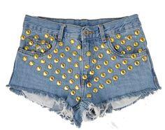 Lota short studded cut off shorts by Omeneye on Etsy, $89.00  Vintage, cutoff, shredded, destroyed, grunge, omen eye, short, shorts, studded, distressed, denim, high waisted, cut off, coachella, coachella 2013, festival, Levis, summer, omeneye.com, omen eye, omeneye