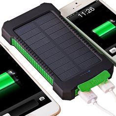 Batteries Battery Storage Boxes Hearty Waterproof Outdoor Compass Mobile Power Bank 20000 Ma Solar Charging Dual Usb Ports With Led Light Phone Charger Supply Latest Technology