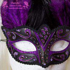 Feather Carnival Mask, Hummingbird, Black, Purple, Venetian, Masquerade, Wedding, Rhinestone, Bridal, Fetish, Burlesque, Victorian Steampunk.