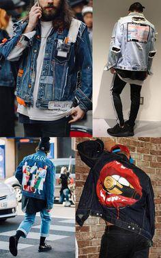 A sua jaqueta jeans ganhou nova cara! Custom Clothes, Diy Clothes, Jean Jacket Design, Jaket Jeans, Latest Mens Wear, Denim Ideas, Denim Jacket Men, Creation Couture, Denim Fashion