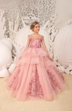Blush pink Flower Girl Dress - Birthday Wedding party Bridesmaid Holiday Blush pink Lace Flower Girl Dress - Pageant dress for Xiomarita - Pink Flower Girl Dresses, Lace Flower Girls, Little Girl Dresses, Pink Dresses For Kids, Lace Flowers, Wedding Flowers, Elegant Ball Gowns, Wedding Dresses For Kids, Girls Pageant Dresses