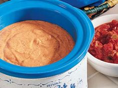 Championship Bean Dip: My husband loves my bean dip and when we watch football game or nascar races and I make them for my husband and kids. They are so delicious and spicy. Football Party Food Menu, Cheese Appetizers, Cheese Dips, Small Slow Cooker, Bean Dip Recipes, Easy To Make Appetizers, Chips And Salsa, Thing 1, Cheese Lover