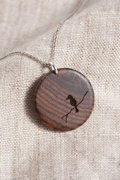 Items similar to Wooden Bird Pendant on Etsy Wood Necklace, Wooden Earrings, Wooden Jewelry, Pendant Necklace, Wood Burning Crafts, Wood Burning Art, Articles En Bois, Bois Diy, Laser Cut Jewelry