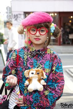 Double Bun Hairstyle Girl, Heart Handbag & Harajuku Gremlin