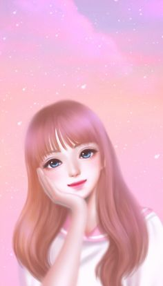 Pink Queen Wallpaper, Cute Girl Wallpaper, Cute Wallpaper Backgrounds, Cute Wallpapers, Wallpaper Keren, Cute Girl Drawing, Cute Drawings, Anime Korea, Korean Anime