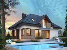 Projekt domu Reksio N+ 103,37 m2 - koszt budowy 180 tys. zł - EXTRADOM House Outside Design, House Design, Facade House, Home Fashion, Modern Farmhouse, Tiny House, Beautiful Homes, Building A House, House Plans