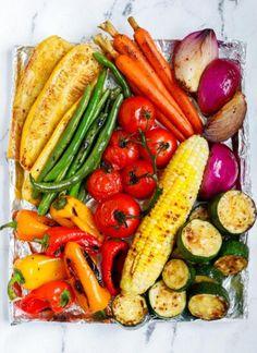 Best Grilled Vegetables, Shrimp And Vegetables, Vegetable Prep, Vegetable Recipes, Chicken Recipes, Korean Bbq Chicken, Garlic Parmesan Shrimp, Mini Potatoes, Grilling Recipes