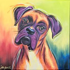 Colorful boxer dog portrait on canvas, hand painted dog art, acrylic paint on ca. - Colorful boxer dog portrait on canvas, hand painted dog art, acrylic paint on canvas - Boxer Dogs Facts, Boxer Puppies, Funny Puppies, Female Boxer Dog, I Love Dogs, Cute Dogs, Dog Breed Names, Arte Hip Hop, Arte Pop