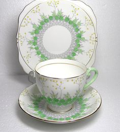 Art Deco Royal Grafton Frinton Green Trio Cup Saucer And Sideplate by TheMewsCottage on Etsy