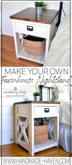 Apr 2020 - Farmhouse nightstand plans that will give your bedroom a Joanna Gaines farmhouse vibe. These free DIY nightstand plans are an easy step-by-step tutorial on how to recreate a farmhouse nightstand for your home. Nightstand Plans, Rustic Nightstand, Bed Side Table Diy, Bedside Table Ideas Diy, Rustic Side Table, Farmhouse Side Table, Diy Furniture Plans, Farmhouse Furniture, Furniture Design