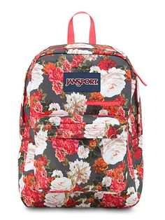 JanSport pink and grey floral pattern Digibreak backpack with laptop and tablet sleeve