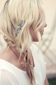 A loose side braid with just a smidgen of bling