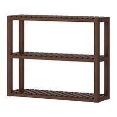 IKEA - MOLGER, Wandplank, donkerbruin, , Met open planken voor een goed overzicht en een makkelijke bereikbaarheid.