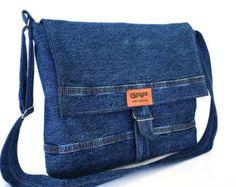 Denim messenger bag recycled jeans crossbody bag by Sisoibags