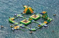 Your own inflatable water park. This massive structure spans 130 feet by 105 feet, and brings your own private water park to any body of calm water. It has everything you could imagine including climbing wall, trampoline, catapult, and more, and takes about 3 hours for the three pumps to power up.