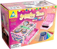 """1000+ sticky foam and jewel pieces. 1 jewelry box. Mosaic-by-number butterfly design. 8"""" x 6"""" x 4.25"""" assembled box. No tools required"""