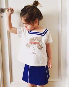 fb430a461a98b Bobo choses cuello de marinero de la raya azul de la camiseta john niños  niñas de algodón camisetas tops verano ropa del niño de la alta calidad