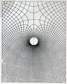 Kika Thorne, Rips and holes, photocopy, holepunch, tears and crease, 2010  Drawing of light bending by the scientist James Clerk Maxwell, image research: Alex Muir.
