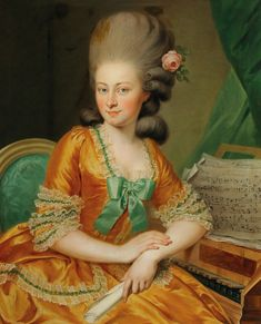 Portrait of a Singer at the Harpsichord by Georg Weikert. Portrait of a Singer at the Har 18th Century Dress, 18th Century Clothing, 18th Century Fashion, 19th Century, Historical Costume, Historical Clothing, Female Portrait, Portrait Art, Renaissance Portraits