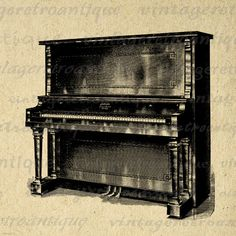 Antique Piano Digital Image Download Printable Graphic Vintage Clip Art. Printable graphic illustration. This high quality digital image is great for printing, transfers, and much more. Personal or commercial use. This digital graphic is high quality at 8½ x 11 inches large. Transparent background version included with every digital image.