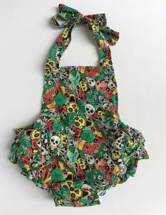 Mexican Sugar Skull Green Romper Dress