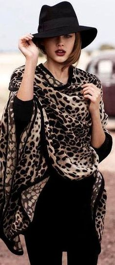 Victoria Lee Myer AW 2012. Animal print handkerchief, black sweater, black pants, black hat