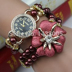 Venda quente 11 cores moda feminina pulseira de pérolas de luxo relógios de pulso das mulheres vestido relógios relogio feminino reloj mujer 2015 WQ001 em Relógios de pulso de Relógios no AliExpress.com | Alibaba Group