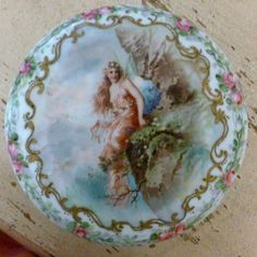 T&V Limoges France Semi Nude Fairy Nymph Covered Bowl w/ Roses and Gold