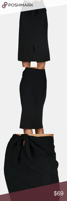 Jenni Kayne front wrap skirt BNWT size 4 Crepe black skirt with adjustable tie to be worn at the hips or the true waist. Front slit. Length is approximately 27.75 inches, waist approximately 35.5 inches circumference.  Never worn, BNWT. Priced to sell!! Jenni Kayne Skirts Midi