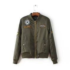 Women Army Green Cotton Padded Bomber Jacket With Embroidered Patches - JKT009