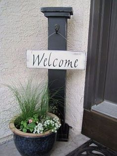 Creative Ways to Increase Curb Appeal on A Budget - DIY Welcome Column - Cheap and Easy Ideas for Upgrading Your Front Porch, Landscaping, Driveways, Garage Doors, Brick and Home Exteriors. Add Window Boxes, House Numbers, Mailboxes and Yard Makeovers http://diyjoy.com/diy-curb-appeal-ideas