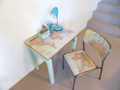 How to apply a world map to a desk tabletop before and after photos world map vintage primary school desk and chair set before and after photos and diy gumiabroncs Image collections