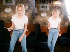 Becca in Oxnard, CA wearing the Medium Wash High Waist Jeans and Power Wash Tee. Fall 2012.
