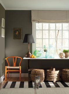 Benjamin Moore's Williamsburg Collection >> Wall: Regal Select, Eggshell, Carter Gray CW-80. Trim: Regal Select, Semi-Gloss, Bruton White CW-710.