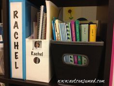 Organizing school supplies: a shelf for each student's personal supplies.