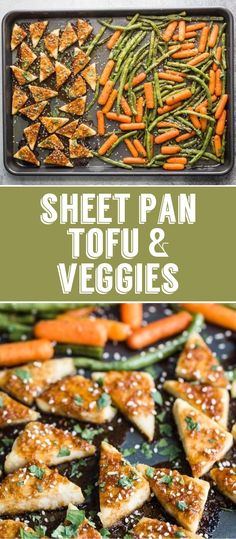 Sheet Pan Tofu & Veggies- this easy sheet pan dinner is simple to throw together and a great vegan dinner! #sheetpan #dinner #vegan