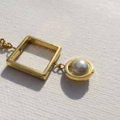 Gold Geometric Necklace With Faux Pearl on Etsy, $9.00