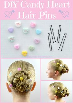 DIY Candy Heart Hair Accessories for Valentine's Day - Babes In Hairland Valentine's Day Hairstyles, Holiday Hairstyles, Little Girl Hairstyles, Toddler Hairstyles, Princess Hairstyles, Headband Hairstyles, Braided Hairstyles, Pagent Hair, Diy 2019