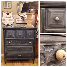 Vintage four drawer dresser hand painted in Chalk Paint® Graphite with a Paris Grey wash. Decoupage Furniture, Hand Painted Furniture, Refurbished Furniture, Furniture Makeover, Diy Furniture, Furniture Refinishing, Furniture Inspiration, Color Inspiration, Milk Paint