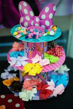 Bow-Tique Station by Party Elegance Events in Miami, FL. Photo from Angelique's… Minnie Mouse Theme Party, Mickey Mouse Clubhouse Birthday Party, Mickey Party, Mickey Mouse Birthday, 3rd Birthday Parties, Birthday Party Decorations, 2nd Birthday, Minnie Mouse Favors, Party Favors