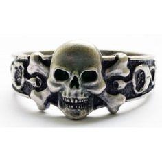 German Silver Skull and Crossbones Ring