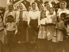 """Polish refugees arrived to the U.S.on the S.S. La Touraine, Ellis Island, 9/23/1920 (caption on the back of the photo).  Theodore Koch papers, Box 12, Folder """"U.S.Immigration ca.1918-1920."""""""