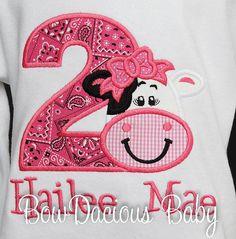 Girls Cow Birthday Shirt Girl Farm Birthday by bowdaciousbaby