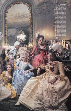 Marie Antoinette cast - Vogue by Annie Leibovitz, September 2006