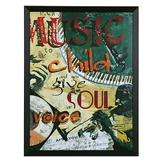 """$139.95  43.5"""" x 33.5"""" framed in a matte black slanted frame """"Teach Music to the Child and you Give the Soul A Voice."""""""