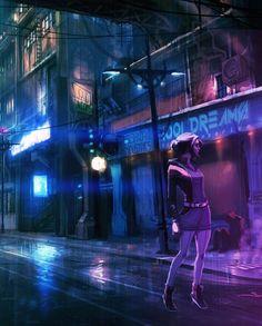 Cyberpunk street. Dreams