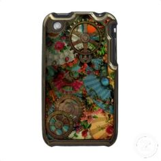 Funky Victorian Steampunk in Brass Case For The iPhone 3