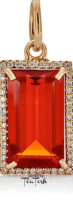 ❇Téa Tosh❇ Irene Neuwirth's pendant, Emerald-cut fire opal set in 18k rose gold, pavé-set with diamonds.